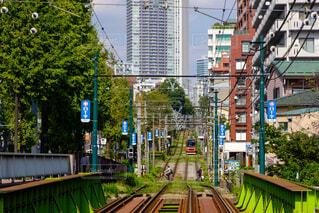 背景の建物と電車の中で人々 のグループを追跡します。の写真・画像素材[1674645]