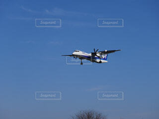 曇りの青い空を飛んでいるジェット大型旅客機の写真・画像素材[1773292]