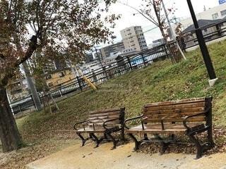 冬の公園のベンチの写真・画像素材[1673711]