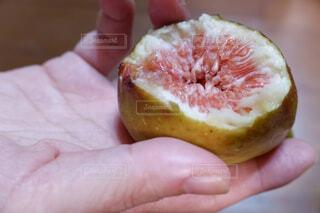 半分食べた果物を持つ手の写真・画像素材[2427472]