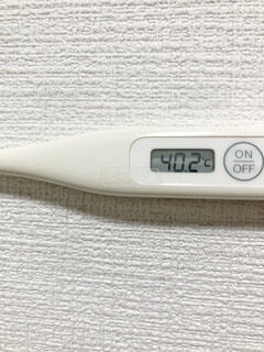 40.2度の体温計の写真・画像素材[3998211]