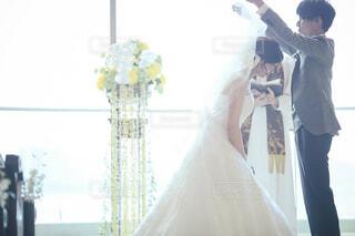 結婚式  ベールアップの写真・画像素材[1790485]