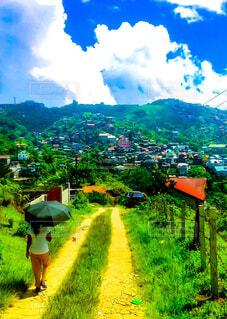 丘を歩く日傘を差した女性と街と空の写真・画像素材[1708589]