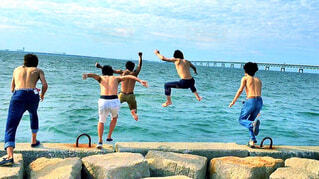 海へ飛び込むの写真・画像素材[1716946]