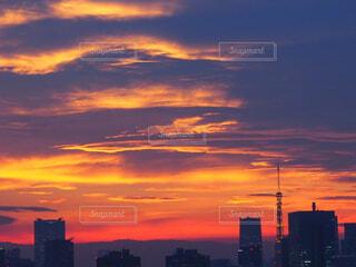 街に沈む夕日の写真・画像素材[1717479]