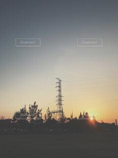 冬の夕景の写真・画像素材[1724859]