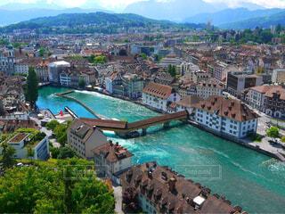 スイス 川と街との写真・画像素材[1730250]
