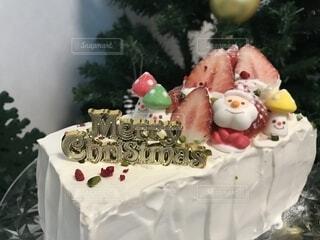手作りクリスマスケーキの写真・画像素材[1736027]
