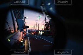 風景,道路,サイドミラー,夕景