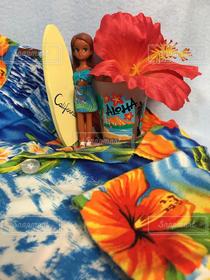 夏,室内装飾,サーフボード,ハイビスカス,水色,オレンジ,ガラス,コップ,人形,ブルー,ハワイ,Hawaii,フィギュア,オレンジ色,アロハ,aloha,アロハシャツ