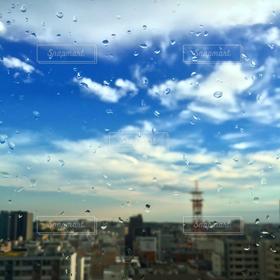 風景,空,建物,雨,青,水滴,都市,都会