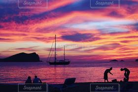 自然,風景,海,空,夕日,ビーチ,雲,スペイン,イビサ,サンセット,グラデーション