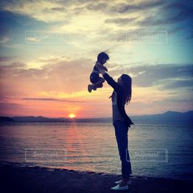 家族,自然,風景,海,空,夕日,熊本,姪っ子,天草