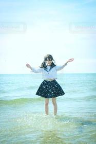 海,夏,水しぶき,blue,女子高生,満喫