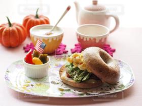 食べ物,カフェ,おうちごはん,朝食,キッチン,ベーグル,ハロウィン,テーブルフォト