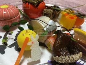 食べ物,秋,うさぎ,栗,満月,和食,旅館,柿,松葉,懐石