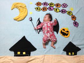 子ども,1人,赤ちゃん,ハロウィン,コスプレ,寝相アート,お昼寝アート