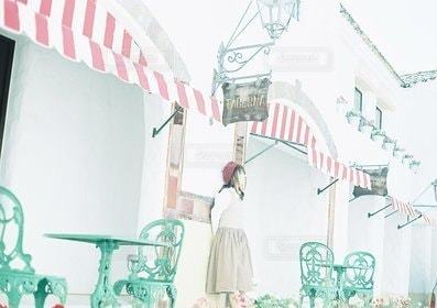 女性,1人,屋外,白,観光,地中海村,三重,三重県