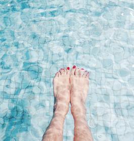 夏,プール,足,青,水,ブルー
