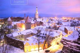 冬,夜景,海外,世界の絶景,世界遺産,古都,エストニア,バルト三国,タリン