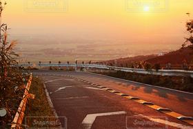 風景,夕日,道路,夕陽