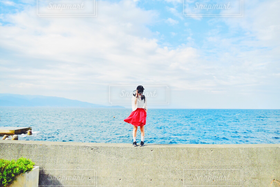 女性,1人,自然,海,空,カメラ女子,初島