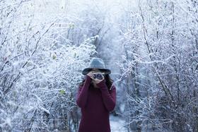女性,冬,カメラ,雪景色,撮影,人物