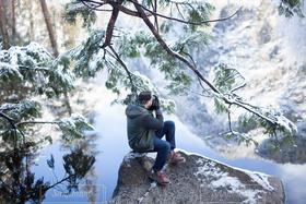 男性,自然,冬,カメラ,雪,雪景色,撮影