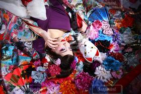 女性,1人,京都,紫,撮影,人物,着物,旅行,女子大生,和服,祇園,鴨川,花魁,20歳,エロ