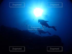 2人,海,シルエット,宮古島,ダイビング,スキューバダイビング