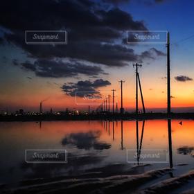 風景,海,空,夕焼け,江川海岸,夕景,海中電柱