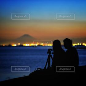 恋人,2人,自然,風景,海,空,夜景,富士山