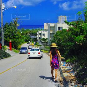 女性,風景,アウトドア,海,空,夏,旅行