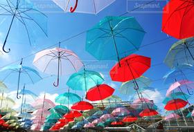 空,雨,傘,カラフル