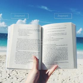 海,空,海外,ビーチ,砂浜,本,読書,旅行,旅
