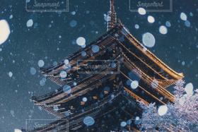 夜景,雪,京都,八坂の塔,吹雪,雪の京都,大寒波